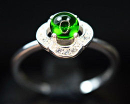 Natural top transparent Green Tourmaline ,CZ 925 Silver Ring