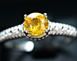 Natural transparent high quality top luster & Fire Sphene ,CZ 925 Silver Ri