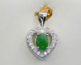 Natural Emerald and 925 Silver Pendant, Elegant Design