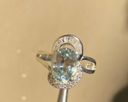 16.00 Carats aquamarine with cz 925 Silver Ring, Ring size 6.