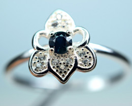 Heated blue color Natural Sapphire 925 Silver top Ring