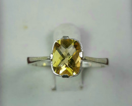 12 Carats yellow fancy cut citrine 925 Silver Ring, 7x5x3mm.