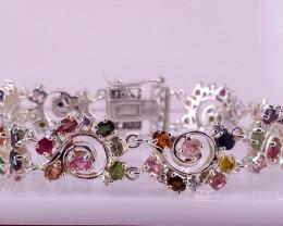 Amazing style Natural Tourmaline Bracelet with CZ.
