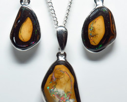 29.10ct Boulder Opal Free form Hand Made Silver Pendant Earring Set
