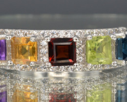 Natural Topaz, Peridot, Garnet, Citrine ,Amethyst, CZ and 925 Silver Ring