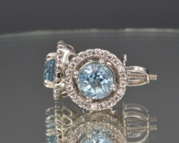 Natural Topaz, CZ and 925 Silver Earring