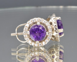 Natural Amethyst Garnet, CZ and 925 Silver Earring