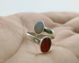 Open 950 silver ring with solid opal and fire