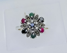 10.47 Crt Natural Ruby Emerald And Sapphire 925 Silver Ring