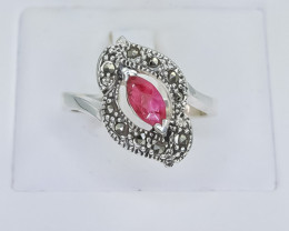 10.28 Crt Natural Ruby 925 Silver Ring