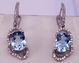 Natural swiss Blue Topaz Earring with CZ.