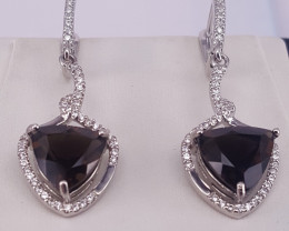 Natural Smoky Quartz Earring with CZ.