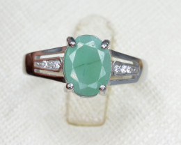 Natural Emerald 15.17 Cts CZ and Silver Ring