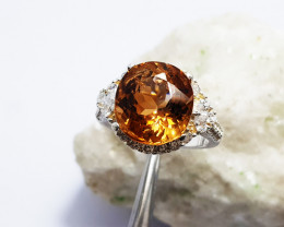 Natural Champagne Topaz - 925 Sterling Silver Ring