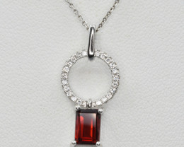 Natural Rhodolite Garnet and CZ,  Pendant with Necklaces Silver 925
