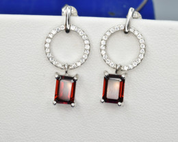 Natural Rhodolite Garnet, CZ and 925 Silver Earrings