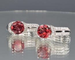 Natural Rhodolite Garnet, CZ and 925 Silver Earrings