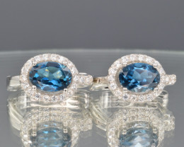 Natural Blue Topaz , CZ and 925 Silver Earrings