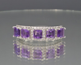 Natural Amethyst, CZ and 925 Silver Ring