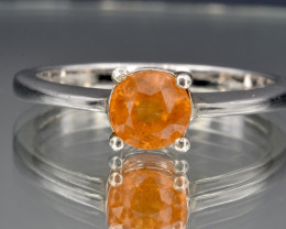 Natural Spessartite and 925 Silver Ring
