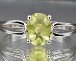 Natural Peridot and 925 Silver Ring