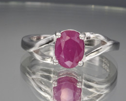 Natural Ruby and 925 Silver Ring