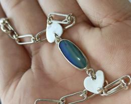 Pulseira  em prata 950 com opala doublet  forma oval