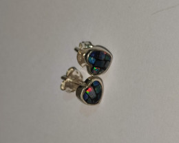 950 silver earrings with heart shaped mosaic opal