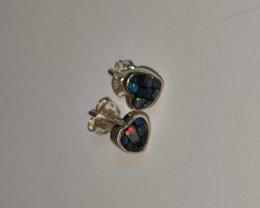Brincos em prata 950  com opala mosaico forma coração