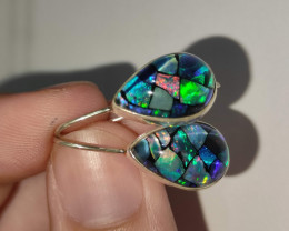 Silver earrings 950 hook with opal mosaic drop shape
