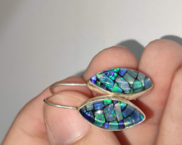 Silver earrings 950 hook with opal mosaic shaped navette