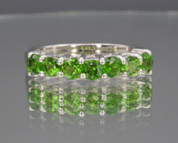 Natural Green Chrome and 925 Silver Ring