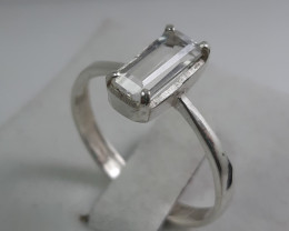 1.50 Carat very rare pollucite 925 Silver Ring, Ring size 10.