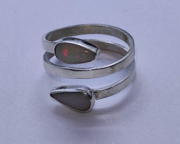 Double open 950 silver ring with solid opal drop shape