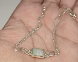 Pulseira  em prata 950 com opala sólida forma oval