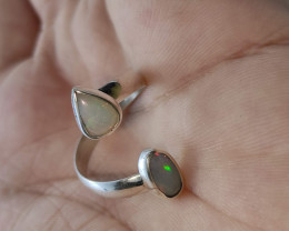 950 Open Silver Ring with Solid Opal - Oval and Drop