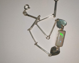 Pulseira  em prata 950 com opala sólida forma retangular