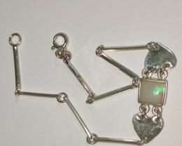 Pulseira  em prata 950 com opala sólida forma quadrada