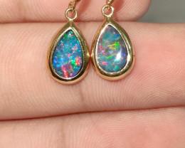 14k gold hook earrings - opal drop shape