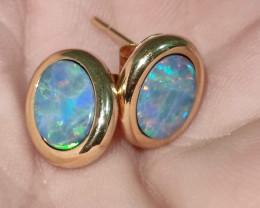 14k gold hook earrings - opal oval shape