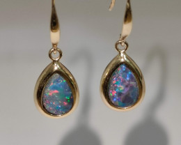 14k gold hook earrings - opal drop shape