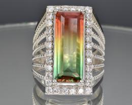 Bicolour tourmaline imitation silver 925 ring