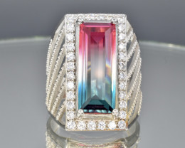 Bicolour tourmaline imitation silver 925 ring