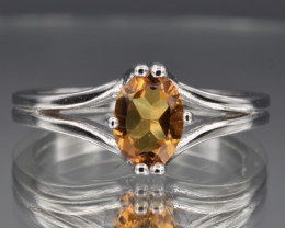 Natural Citrine and 925 Silver Ring