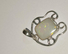 Pendant in silver 950 with solid opal rectangular shape