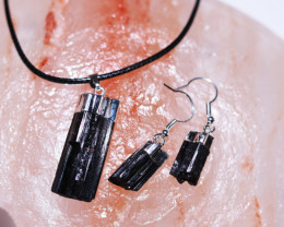 Four sets Spiritual  Raw  black Tourmaline 3pc Jewelry Set   BRBT1-4