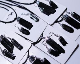 Twelve sets Spiritual  Raw  black Tourmaline 3pc Jewelry Set   BRBT1-12