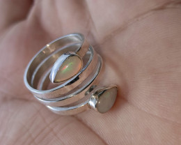 950 silver ring with solid drop opal