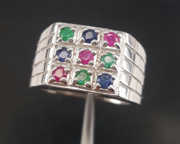 Men Natural Emerald Ruby and sapphire Ring