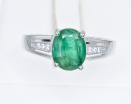 16.65 Crt Natural Emerald 925 Sterling Silver Ring